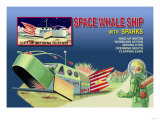 Space Whale Ship with Sparks Prints