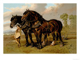 Clydesdale Stallion and Mare Art by Samuel Sidney