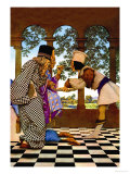 The Chancellor and the King Sampling Tarts Premium Giclée-tryk af Maxfield Parrish
