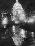 The U.S. Capitol Builing in a Light Night Rain Prints