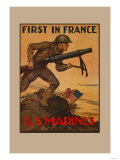 First in France U S Marines Posters