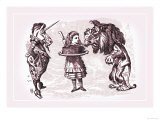 Through the Looking Glass: Alice, Lion, Unicorn and Cake Print by John Tenniel