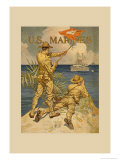 Marines Signaling from Shore to Ships at Sea Poster by Joseph Christian Leyendecker