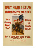 Rally 'Round the Flag with the United States Marines Posters by Sidney Riesenberg