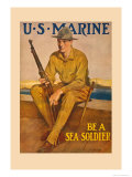 U.S. Marine, Be a Sea Soldier Print by Clarence F. Underwood