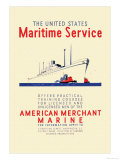 American Mechant Marine, c.1937 Poster by Richard Halls