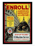 Enroll: American Merchant Marine, c.1941 Posters by Glenn Stuart Pearce