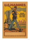 U.S. Marines, Serve America on Land and Sea Posters