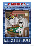 America Dserves a Winning Hand, Make It Blue Premium Giclee Print by Richard Kelly