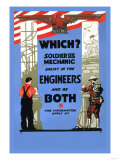 Be a Solider or a Mechanic, Join the Engineers Posters