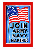 Join, Army, Navy, Marines Prints
