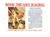 What the Navy is Doing, c.1918 Poster by Joseph Christian Leyendecker