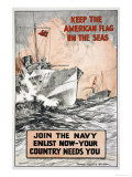 Join the Navy, Keep the American Flag on the Seas, c.1917 Art by Frank Vining Smith