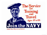 The Service for Training and Trave, Join the Navy, c.1917 Print by James Montgomery Flagg