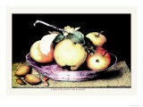 Dish with Apples and Almonds Poster by Giovanna Garzoni