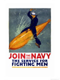 Join the Navy, the Service for Fighting Men, c.1917 Poster by Richard Fayerweather Babcock