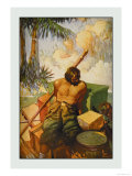Robinson Crusoe: I Did My Utmost to Keep the Chests in Their Places Prints by Frank Goodwin