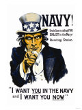 Navy! Uncle Sam is Calling You, c.1917 Posters