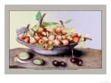 Dish of Small Pears with Medlars and Cherries Poster by Giovanna Garzoni