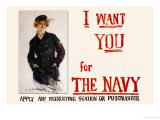 I Want You for the Navy, c.1917 Prints by Howard Chandler Christy