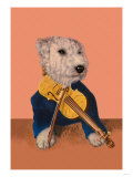Dog with Violin Poster