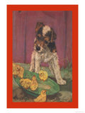 Dog with Chicks Premium Giclee Print by Diana Thorne
