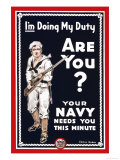 Your Navy Needs You, c.1914 Prints by Clinton Jordan