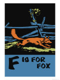F is for Fox Print by Charles Buckles Falls