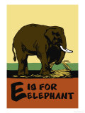 E is for Elephant Art by Charles Buckles Falls