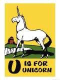 U is for Unicorn Posters by Charles Buckles Falls