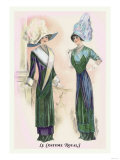 Le Costume Royals: Ladies in Blue and Green Print
