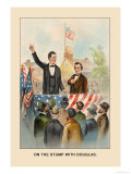 Abe Lincoln, On the Stump with Douglas Premium Giclee Print by Harriet Putnam