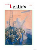 Leslie's: U.S. Marines at the Anti-Aircraft Gun Print by Shafer