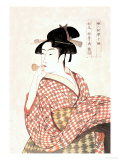 Woman Playing a Poppin Print by Kitagawa Utamaro