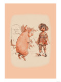Pig on Hind Legs and Little Girl Posters