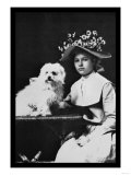 Woman in Bonnet with Maltese Terrier Photo