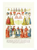 French Clergy Headwear and Vestments Print