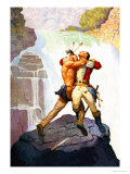 Battle of Glen Falls Premium Giclee Print by Newell Convers Wyeth