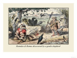 Romulus and Remus Discovered by a Gentle Shepherd Poster by John Leech