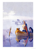 Arthur and Excalibur Premium Giclee Print by Newell Convers Wyeth