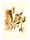 The Wizard Cut the Sorcer in Two Premium Giclee Print by John R. Neill