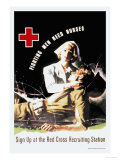 Fighting Men Need Nurses: Sign Up at the Red Cross Recruiting Station Poster by J. Whitcomb