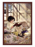 Books in Winter Prints by Jessie Willcox-Smith