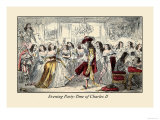 Evening Party, Time of Charles II Print by John Leech