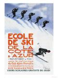 Ecole de ski de la Côte d'Azur - Affiche vintage Affiches par Simon Garnier