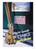 Sports d'hiver en France Affiche par Roland Hugon