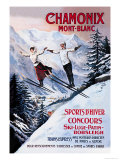 Reclameposter wintersport, Chamonix MontBlanc Posters van Francisco Tamagno