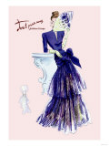 Royal Blue Evening Dress with Fan Prints