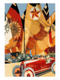 Sailboat and Automobile Premium Giclee Print by Vittorio Grassi