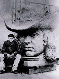 Man Posing with William Penn's Head, Philadelphia, Pennsylvania Photo